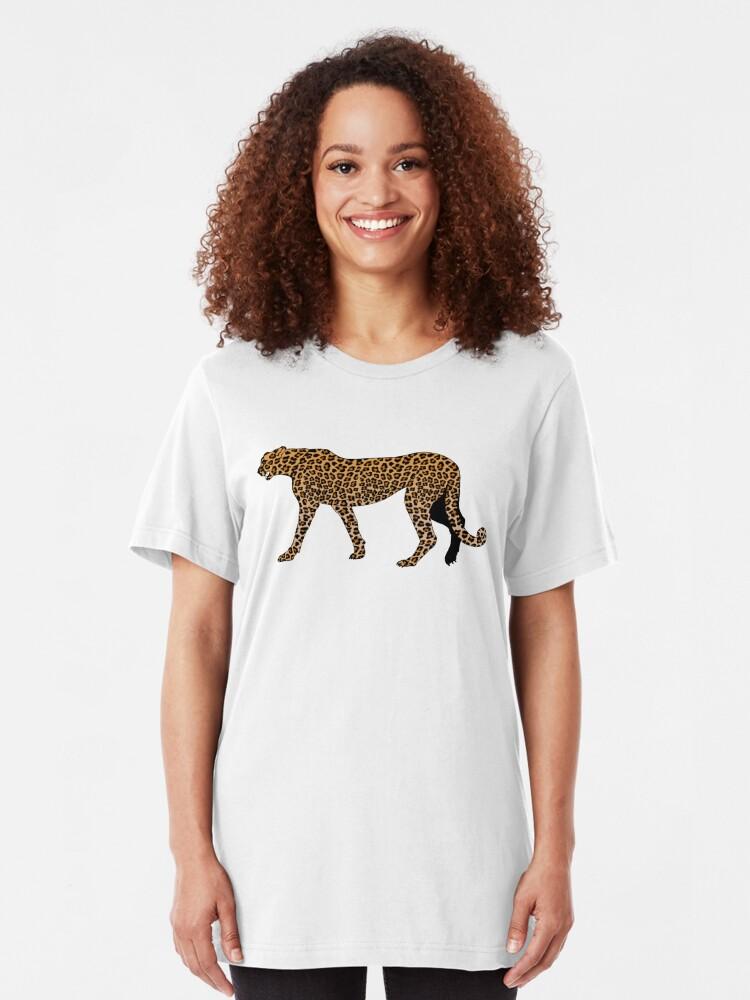 Vista alternativa de Camiseta ajustada Estampado de leopardo
