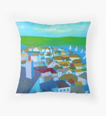 Salcombe rooftops Throw Pillow