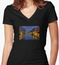 Venice Canal Romantic Night Photo Women's Fitted V-Neck T-Shirt