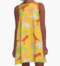 Multi-Color Dinosaur Print A-Line Dress
