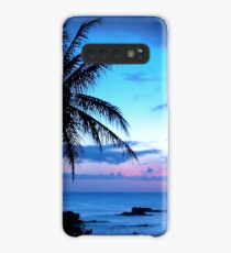 Tropical Island Pretty Pink Blue Sunset Landscape Case/Skin for Samsung Galaxy