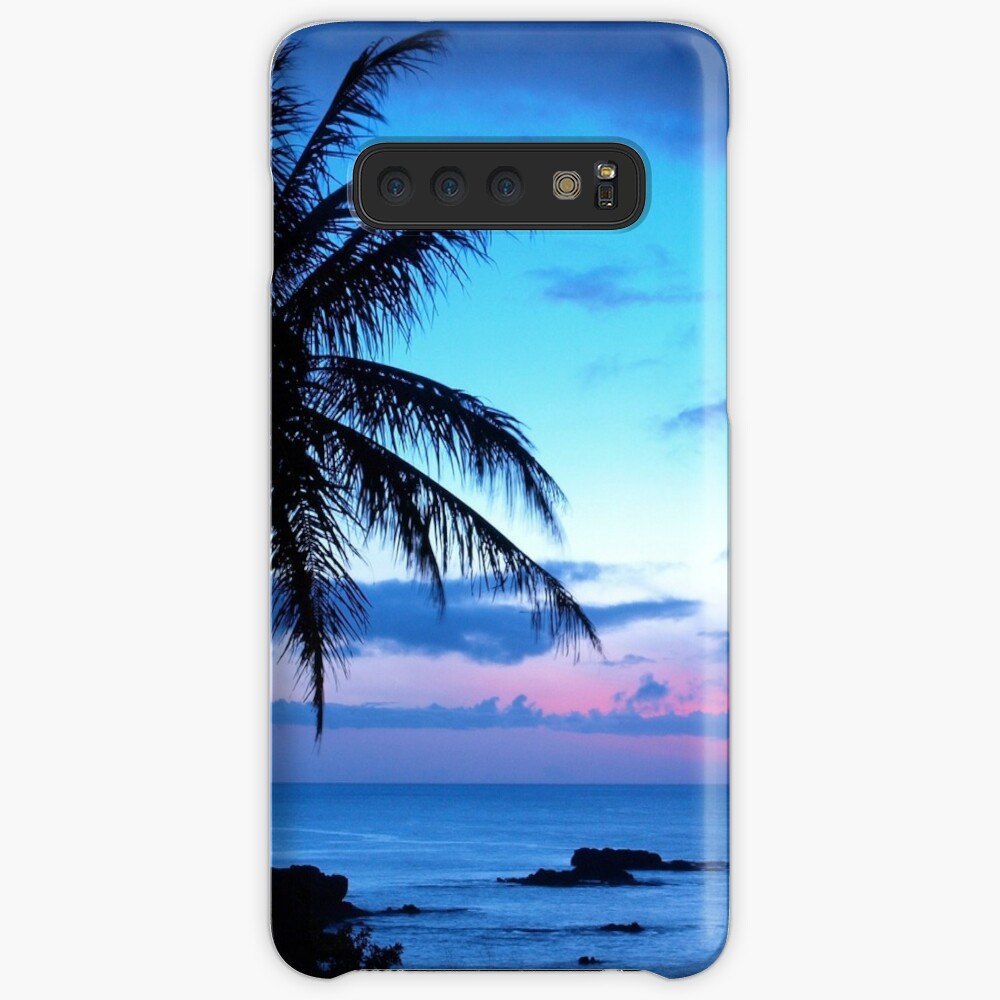 Tropical Island Pretty Pink Blue Sunset Landscape Case & Skin for Samsung Galaxy