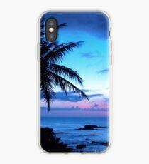 Tropical Island Pretty Pink Blue Sunset Landscape iPhone Case