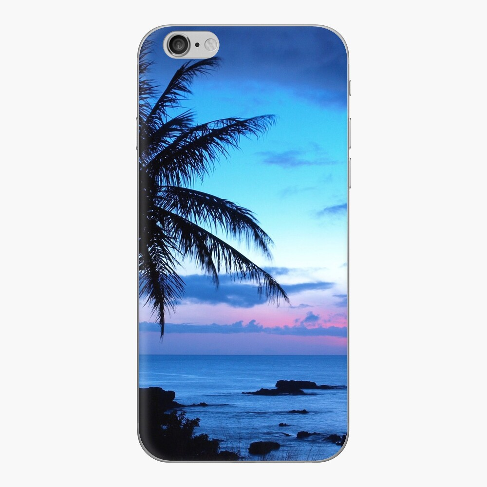 Tropical Island Pretty Pink Blue Sunset Paisaje Vinilo para iPhone