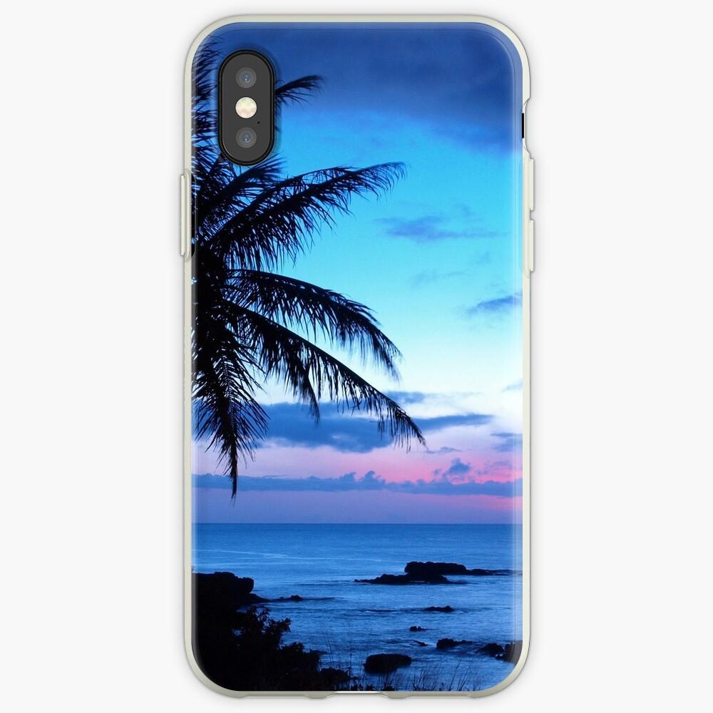 Tropische Insel-hübsche rosa blaue Sonnenuntergang-Landschaft iPhone-Hüllen & Cover