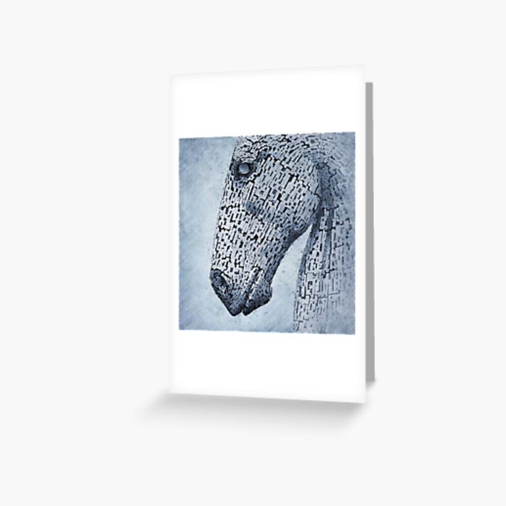Kelpies in the Rain - Original Artwork Greeting Card
