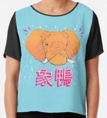 Elephant Duck Kanji Chiffon Top