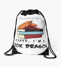 Bookworm? Please, I'm a book dragon. Drawstring Bag