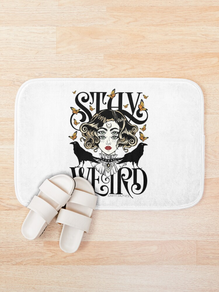 Alternate view of Rose and The Ravens {Stay Weird} Colour Version Bath Mat