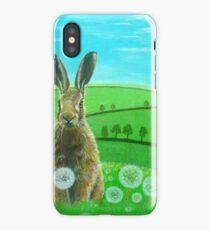 Fat hare in dandelions iPhone Case/Skin