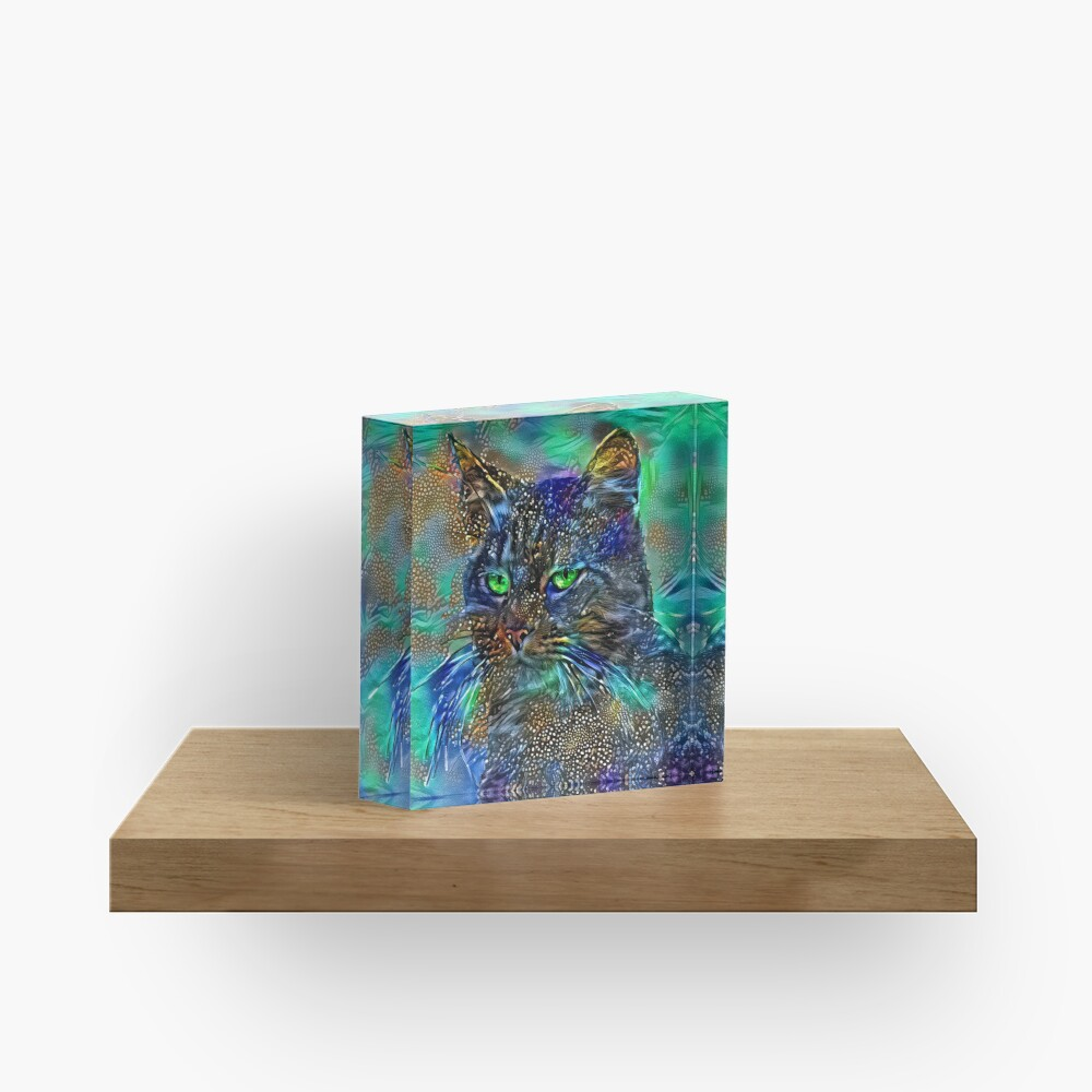 Artificial neural style Starry night wild cat Acrylic Block