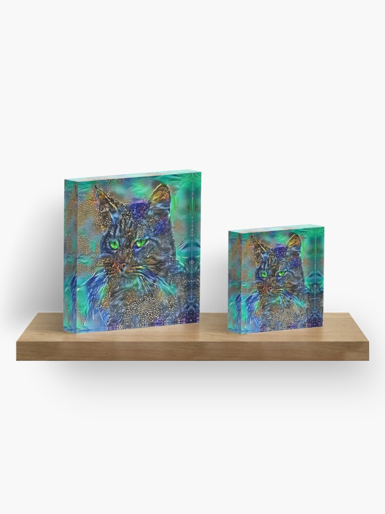 Alternate view of Artificial neural style Starry night wild cat Acrylic Block