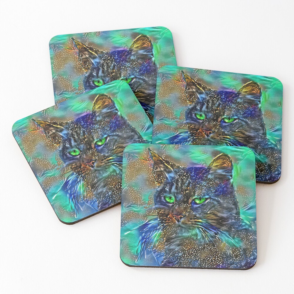 Artificial neural style Starry night wild cat Coasters (Set of 4)