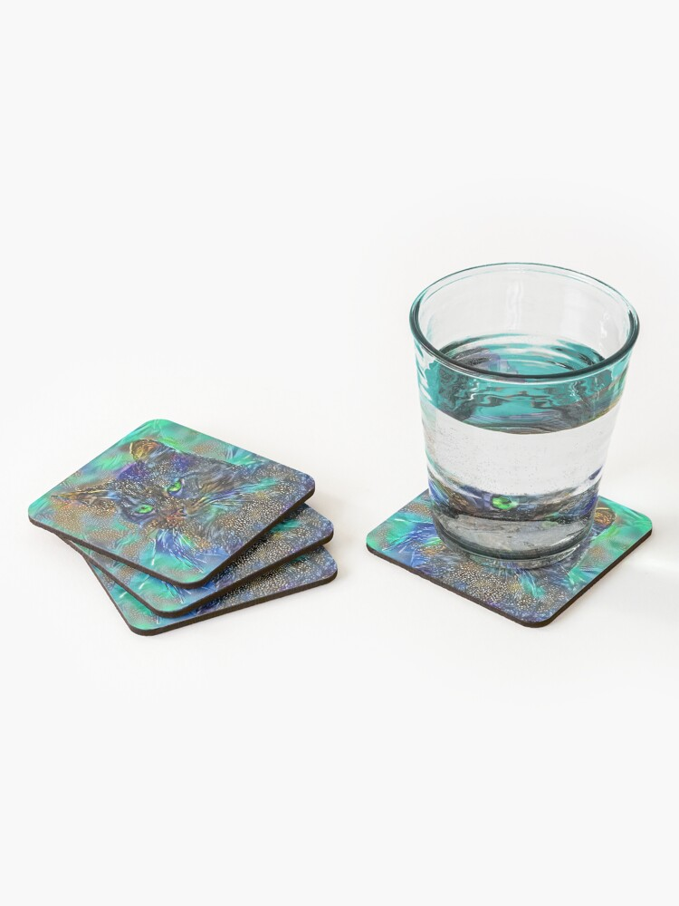 Alternate view of Artificial neural style Starry night wild cat Coasters (Set of 4)