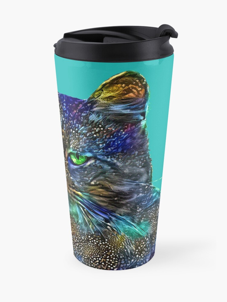 Alternate view of Artificial neural style Starry night wild cat Travel Mug