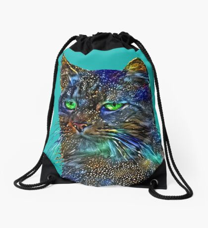 Artificial neural style Starry night wild cat Drawstring Bag