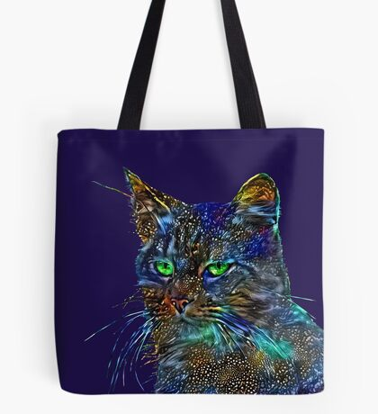 Artificial neural style Starry night wild cat Tote Bag