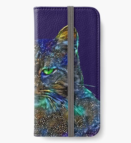 Artificial neural style Starry night wild cat iPhone Wallet