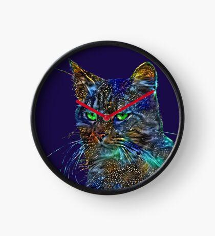Artificial neural style Starry night wild cat Clock