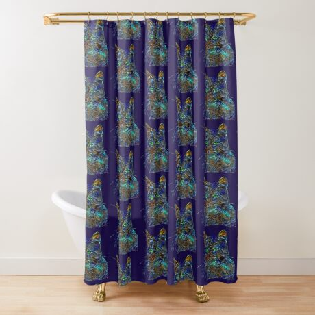 Artificial neural style Starry night wild cat Shower Curtain