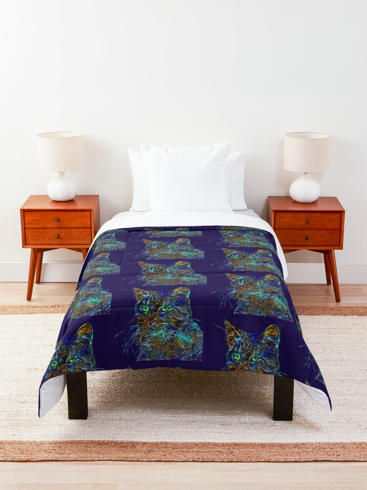 Alternate view of Artificial neural style Starry night wild cat Comforter