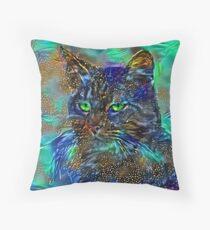 Artificial neural style Starry night wild cat Floor Pillow