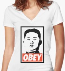 Obey Kim Jong Un Women's Fitted V-Neck T-Shirt