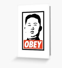 Obey Kim Jong Un Greeting Card