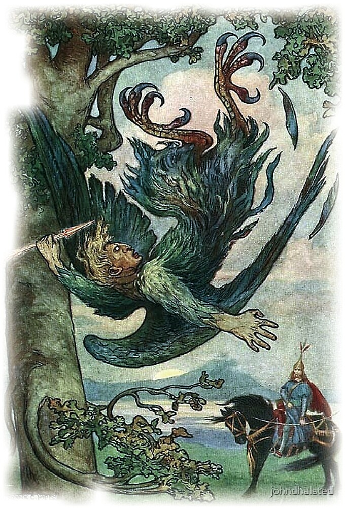 NIGHTINGALE THE ROBBER FELL FROM THE TREE from The Russian Story Book by johndhalsted