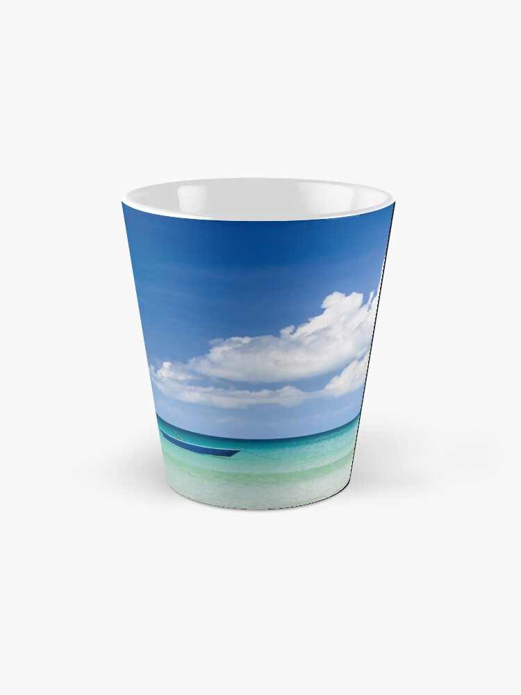 Alternate view of Fisher boat and calm clear turquoise water Mug