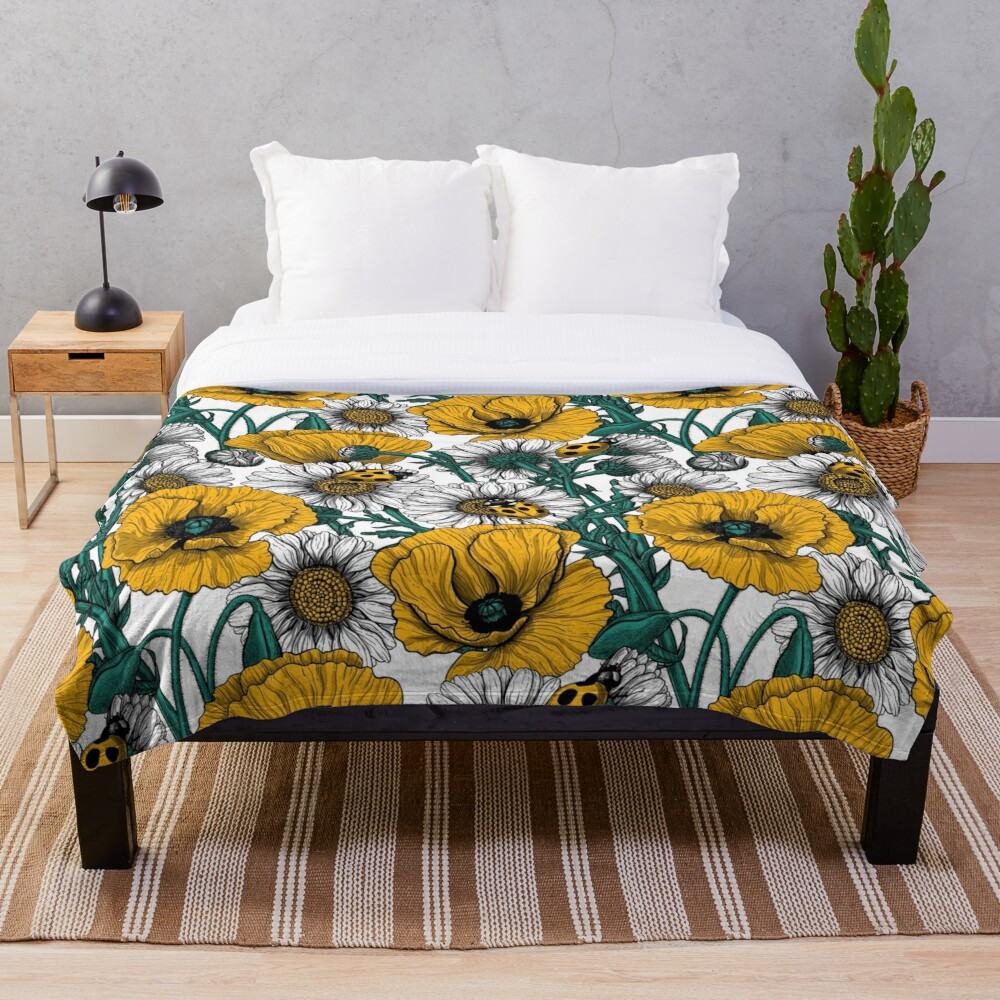 The meadow in yellow Throw Blanket