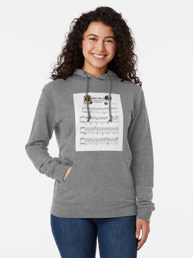 "Alternate view of Beethoven Piano Sonata No.14 ""Moonlight"" 1st Movement Music Sheet Lightweight Hoodie"