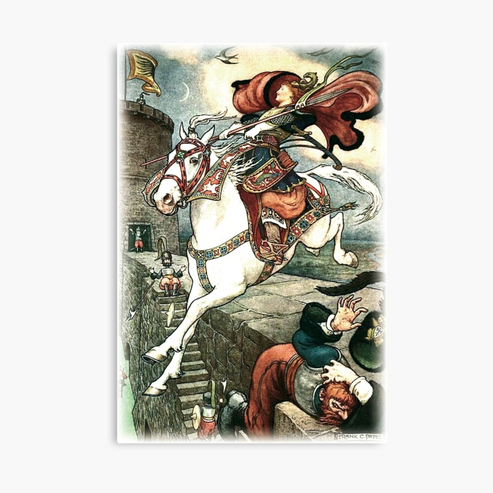 SHE PUT HER GOOD STEED TO THE WALLS AND LEAPT LIGHTLY OVER THEM from the story HOW STAVR THE NOBLE WAS SAVED BY A WOMAN'S WILES in The Russian Story Book Canvas Print