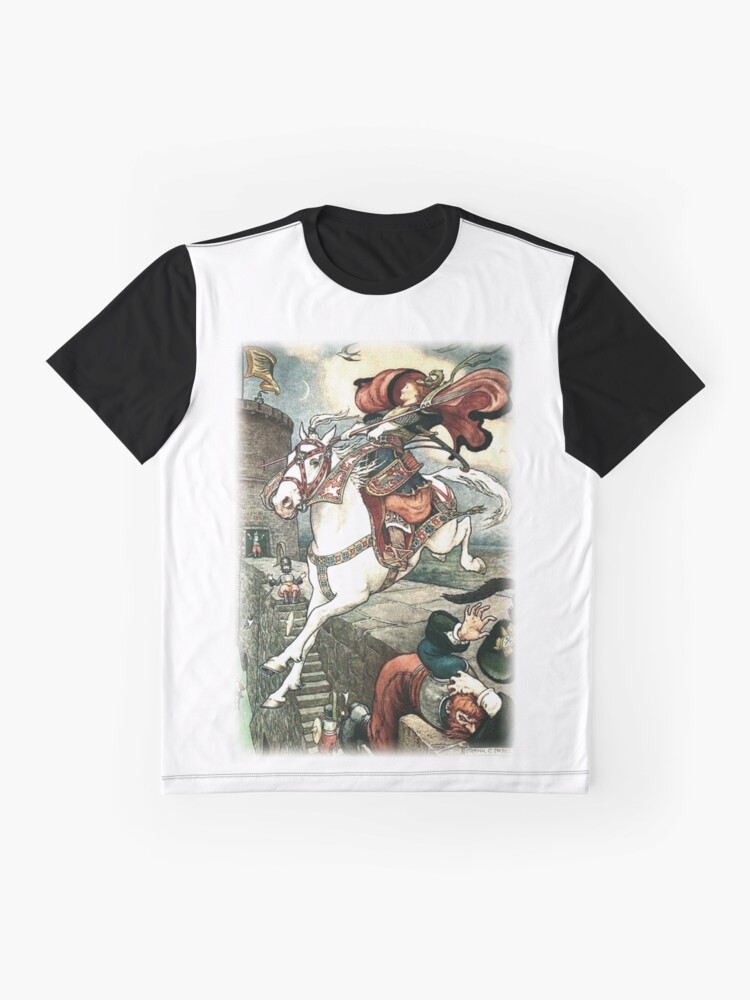 Alternate view of SHE PUT HER GOOD STEED TO THE WALLS AND LEAPT LIGHTLY OVER THEM from the story HOW STAVR THE NOBLE WAS SAVED BY A WOMAN'S WILES in The Russian Story Book Graphic T-Shirt