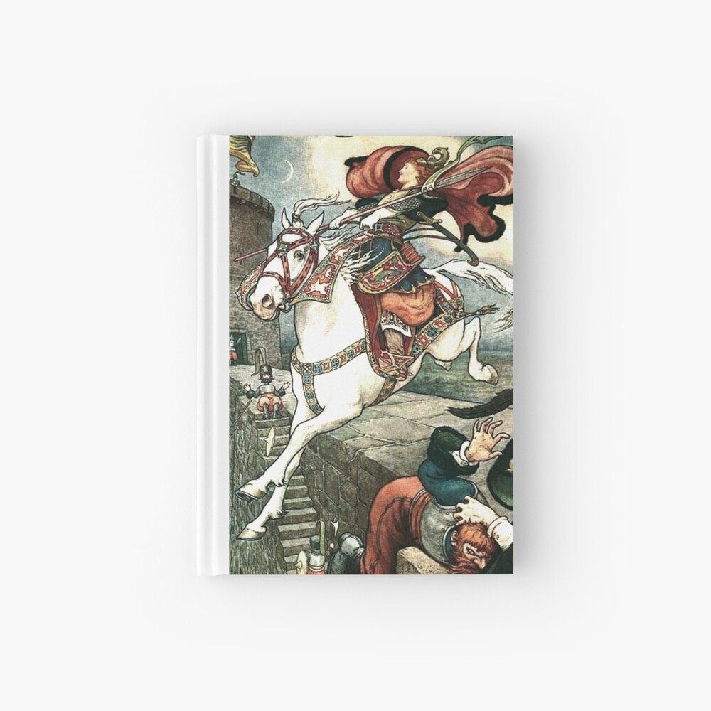 SHE PUT HER GOOD STEED TO THE WALLS AND LEAPT LIGHTLY OVER THEM from the story HOW STAVR THE NOBLE WAS SAVED BY A WOMAN'S WILES in The Russian Story Book Hardcover Journal
