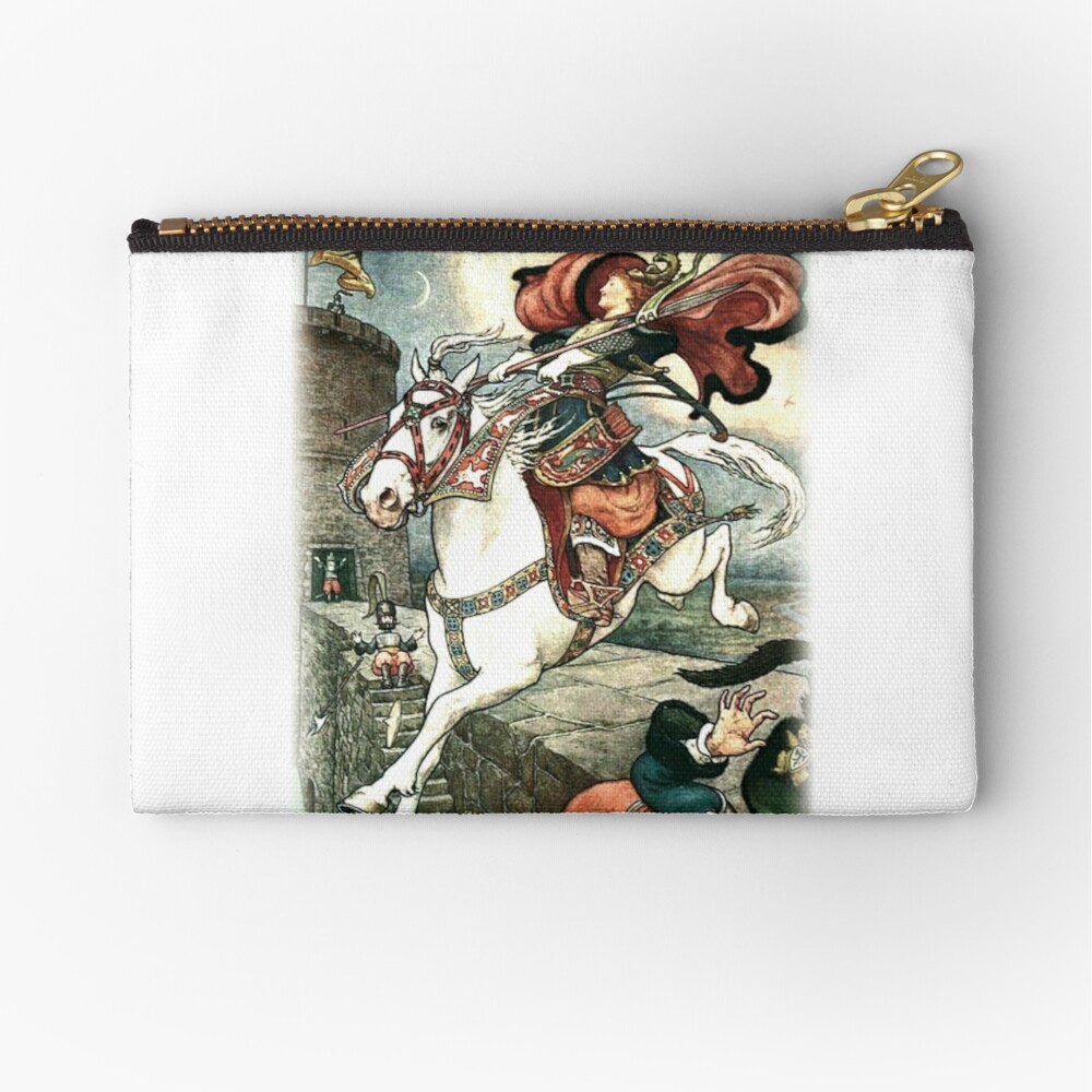 SHE PUT HER GOOD STEED TO THE WALLS AND LEAPT LIGHTLY OVER THEM from the story HOW STAVR THE NOBLE WAS SAVED BY A WOMAN'S WILES in The Russian Story Book Zipper Pouch