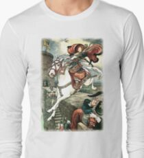 SHE PUT HER GOOD STEED TO THE WALLS AND LEAPT LIGHTLY OVER THEM from the story HOW STAVR THE NOBLE WAS SAVED BY A WOMAN'S WILES in The Russian Story Book Long Sleeve T-Shirt