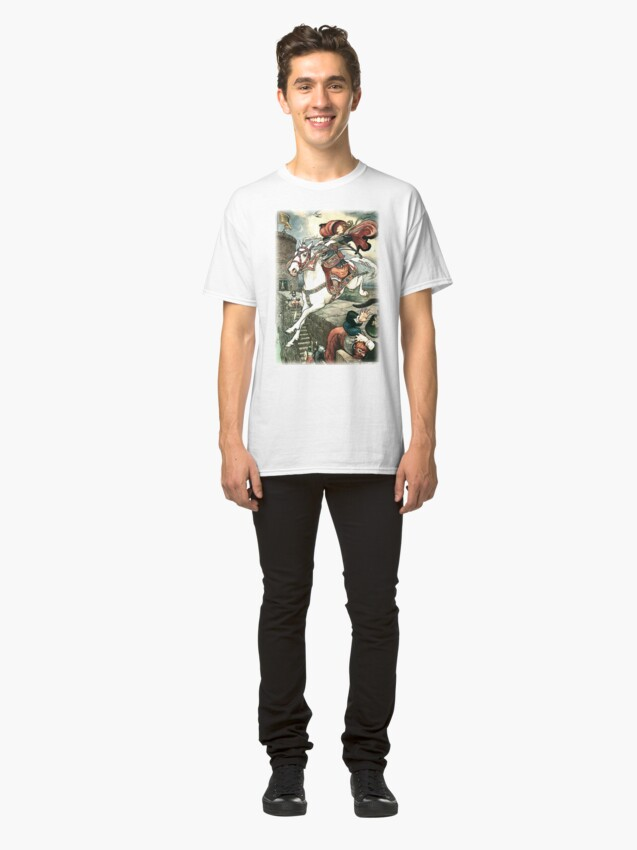 Alternate view of SHE PUT HER GOOD STEED TO THE WALLS AND LEAPT LIGHTLY OVER THEM from the story HOW STAVR THE NOBLE WAS SAVED BY A WOMAN'S WILES in The Russian Story Book Classic T-Shirt