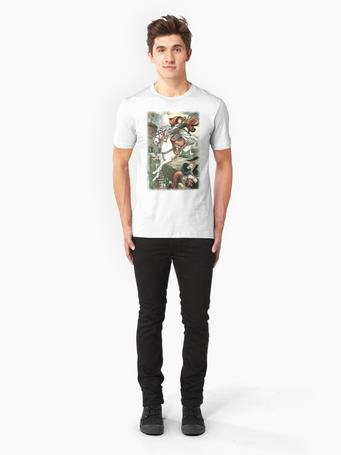 Alternate view of SHE PUT HER GOOD STEED TO THE WALLS AND LEAPT LIGHTLY OVER THEM from the story HOW STAVR THE NOBLE WAS SAVED BY A WOMAN'S WILES in The Russian Story Book Slim Fit T-Shirt