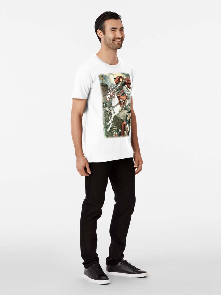 Alternate view of SHE PUT HER GOOD STEED TO THE WALLS AND LEAPT LIGHTLY OVER THEM from the story HOW STAVR THE NOBLE WAS SAVED BY A WOMAN'S WILES in The Russian Story Book Premium T-Shirt