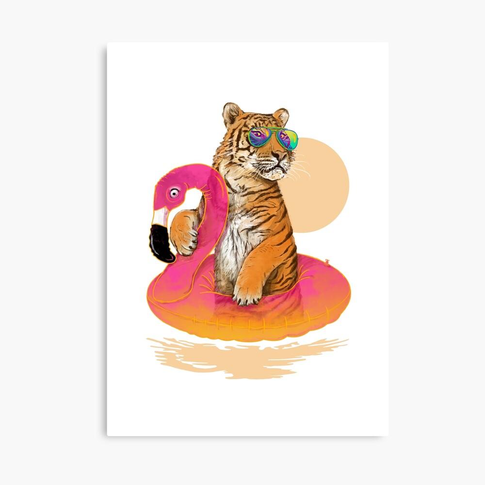 Chillin, Flamingo Tiger Canvas Print