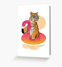Chillin, Flamingo Tiger Greeting Card