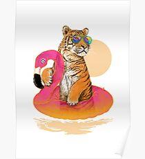 Chillin, Flamingo-Tiger Poster