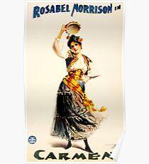 CARMEN Theater Musical Play Performances Rosabel Morrison Vintage Theatre Poster