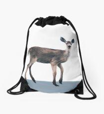 Deer on Slate Blue Drawstring Bag