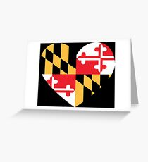 maryland flag heart - loved as sticker, now available in leggings and skirt Greeting Card