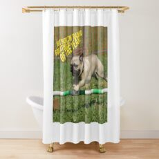 """Funny Pug Shirt, """"Not Now I'm Training for Athlete of the Year!"""" Shower Curtain"""