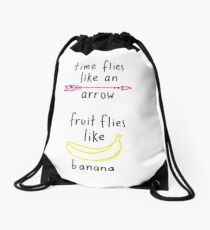 Fruit Flies Like Banana Drawstring Bag