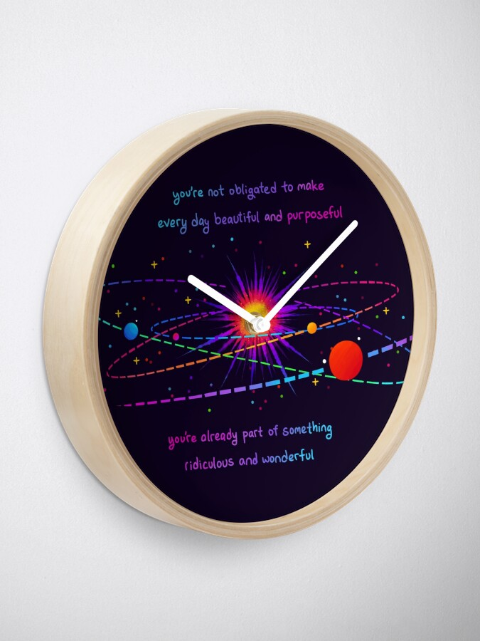 "Alternate view of ""You're Already Part of Something Ridiculous and Wonderful"" Solar System Clock"