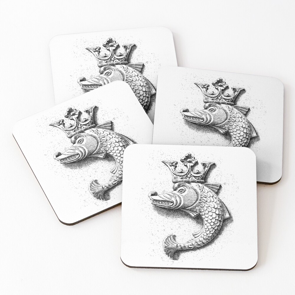 Fish Gargoyle with Crown   Vintage Fish with Crown   Gargoyles and Grotesques   Black and White    Coasters (Set of 4)